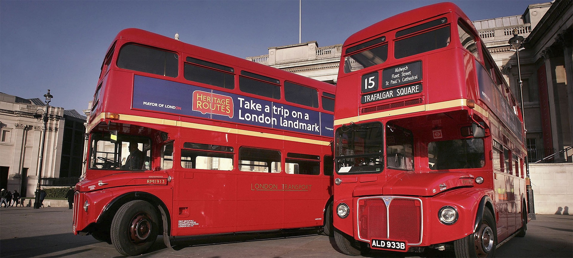 The old Routemaster buses are definitely a design icon of London Transport. They are the double-decker buses with an open platform at the back that allow passengers to jump on and off. The buses used to operate with a conductor on board who would sell tickets (from a machine they had hung round their neck), while the driver was tucked away in a small compartment at the front.