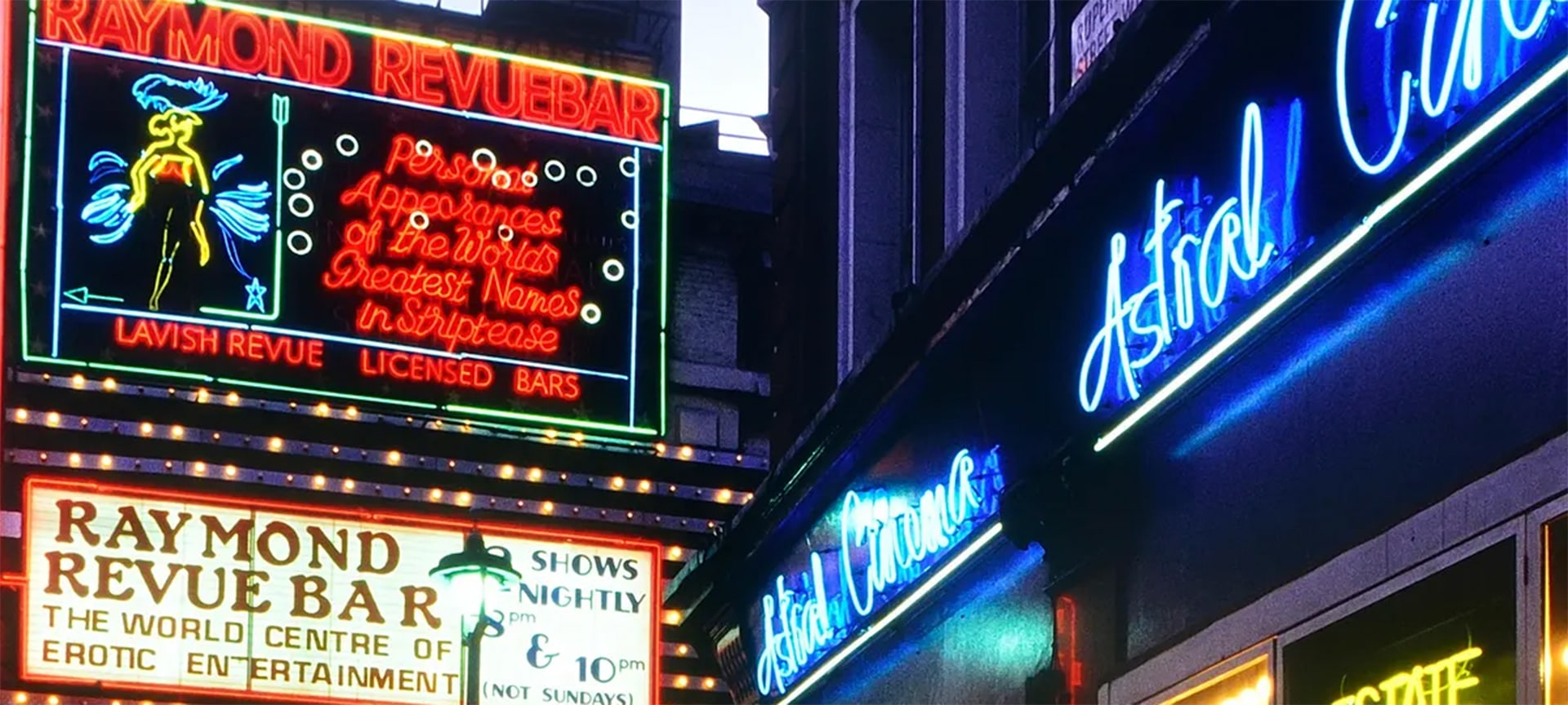 For much of the 20th century the streets of Soho were awash with dazzling neon displays advertising the many clubs, adult shops and saucy cinemas which characterised the area in its seedy heyday.