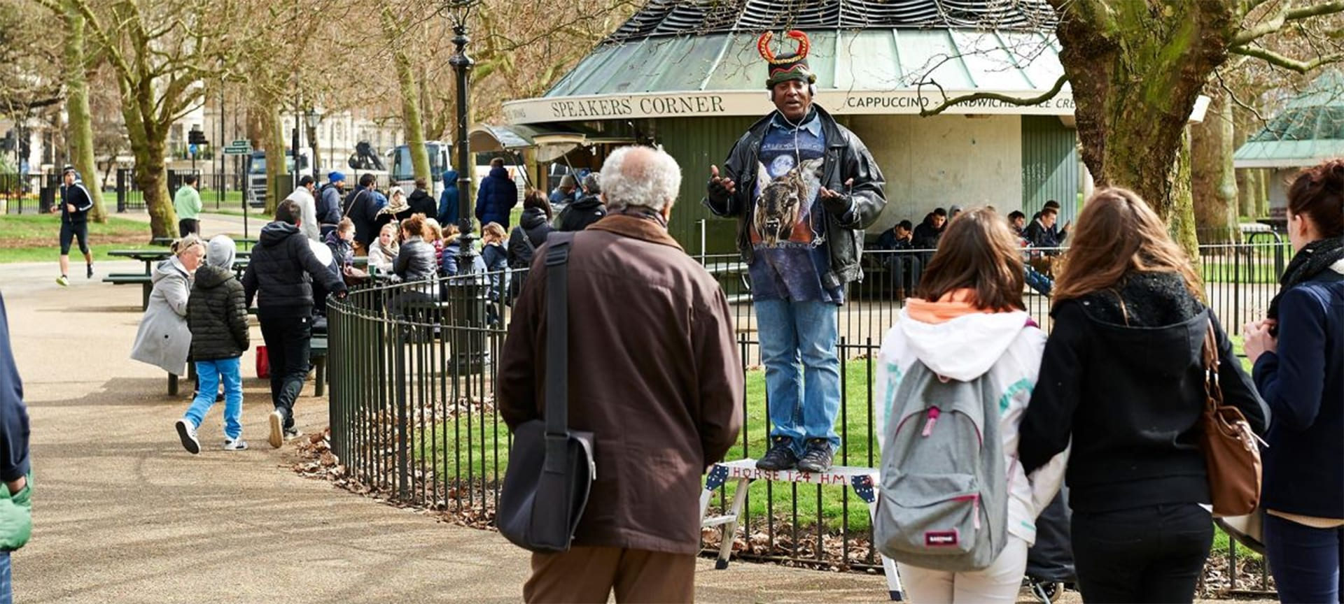 Speakers' Corner is a traditional site for public speeches and debates since the mid 1800s when protests and demonstrations took place in Hyde Park. The speaking area of Hyde Park as defined in legislation extends far beyond Speakers Corner but it is here where most people congregate.