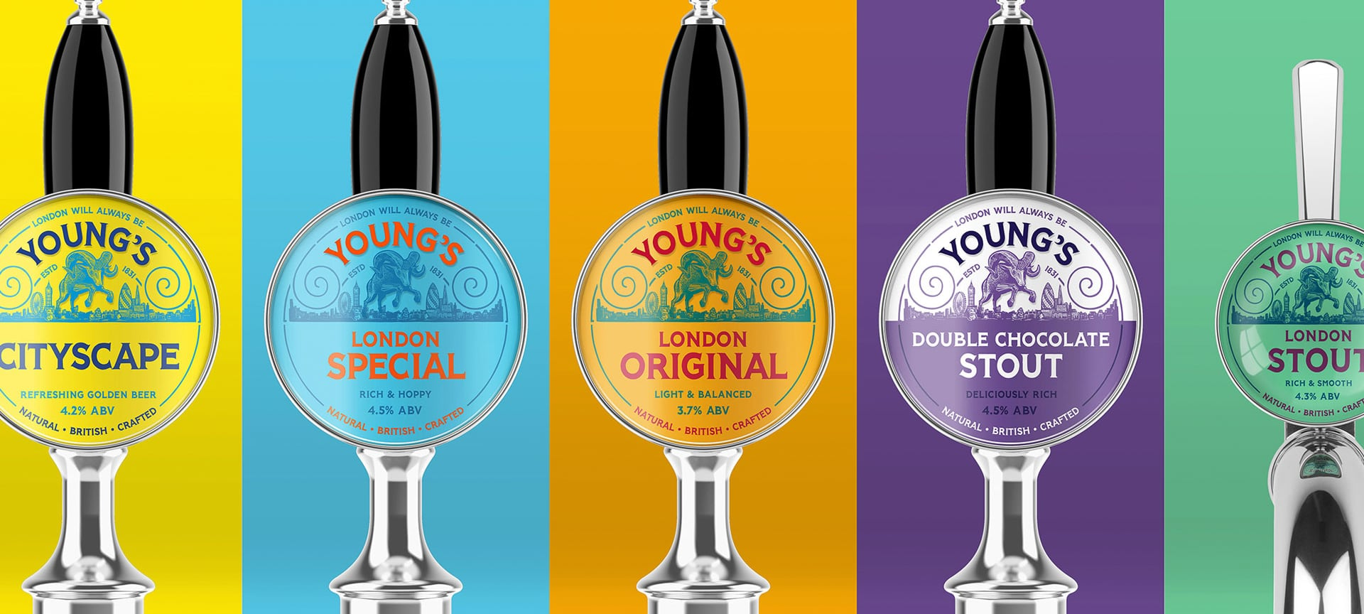 Young's & Co. Brewery has rebranded with the intention of making it more relevant with today's younger beer drinkers. Beyond the new typeface, Young's ram mascot has been rethought to give a feeling of confidence to the brand. The previous ram, the team say, was pictured as shy and static, whereas the new design brings attitude and a sense of pride.